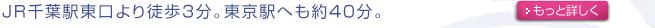 JR千葉駅東口より徒歩5分。東京駅にも約40分
