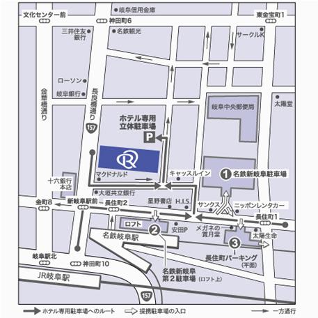 ホテル駐車場誘導地図