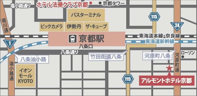 京都駅からのホテル地図