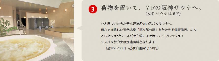 荷物を置いて、7Fの阪神サウナへ(女性サウナは6F)
