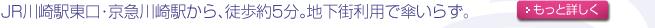 JR川崎駅東口・京急川崎駅から徒歩約5分