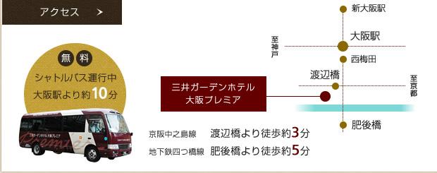 無料シャトルバス運行 大阪駅約から15分、無料シャトルバス運行中!