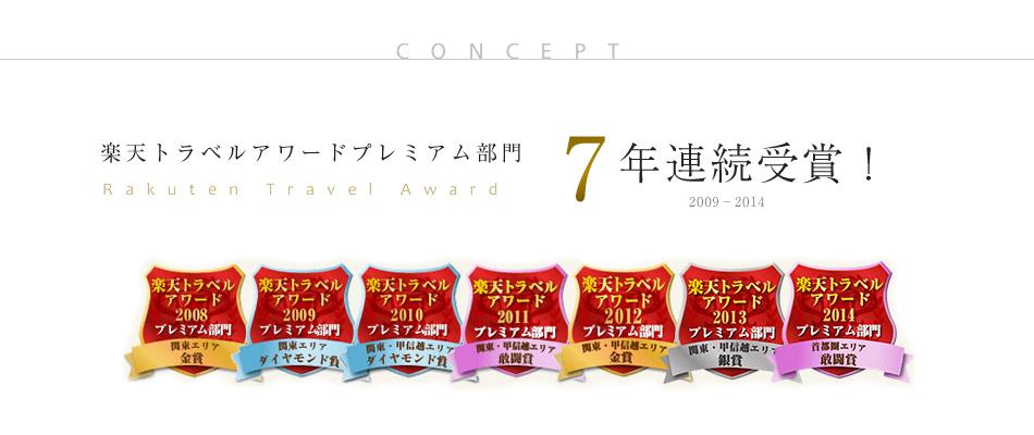 楽天トラベルアワードプレミアム部門 7年連続受賞!