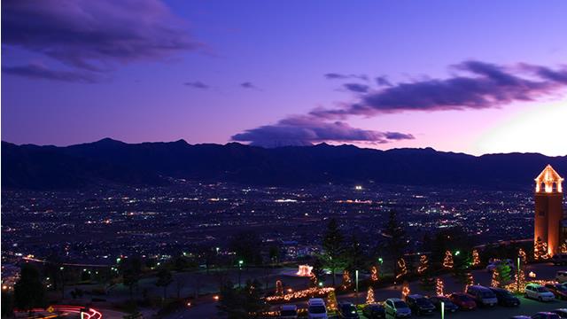 笛吹川フルーツ公園より望む新日本三大夜景