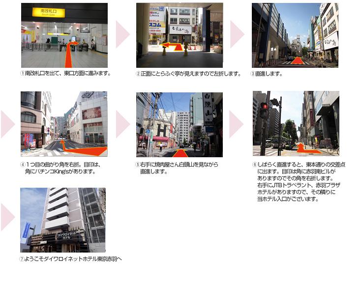 JR赤羽駅南改札からホテルまでの道順案内