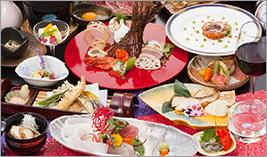 夕食はゆったり、青森の海・山の幸を。