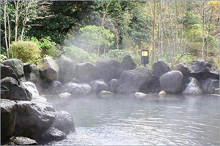 庭園の緑に囲まれた露天風呂「せせらぎの湯」
