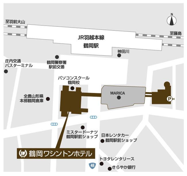 ホテルマップ JR鶴岡駅正面、徒歩約1分