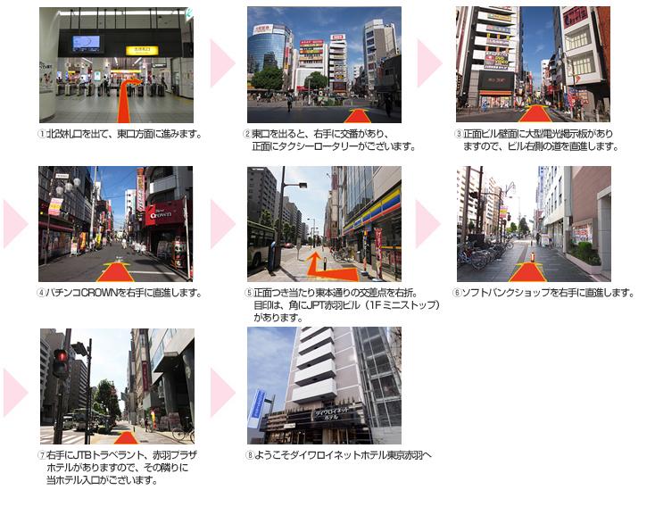 JR赤羽駅北改札からホテルまでの道順案内
