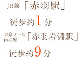 JR線「赤羽駅」徒歩約3分 東京メトロ南北線「赤羽岩淵駅」徒歩約9分