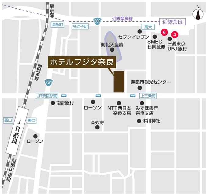ホテルフジタ奈良のホテルマップ