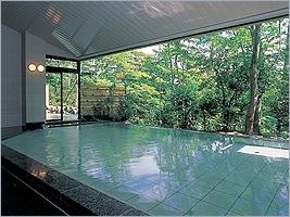 小川の流れる美しい庭園が一望の大浴場