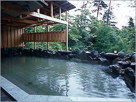 木々に囲まれた露天風呂は開放的