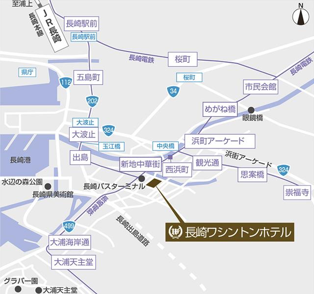 長崎ワシントンホテルのホテルマップ
